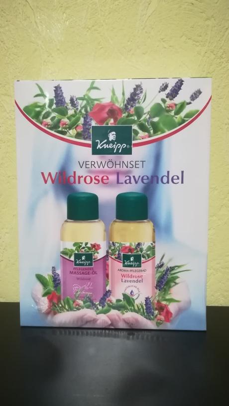 Kneipp Verwöhnset Wildrose Massageöl und Wildrose-Lavendel Aroma Pflegebad